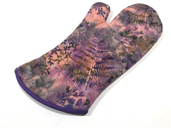 Quilted Batik Fabric Oven Mitt with Purple Floral Pattern, with Hanging Tab Option