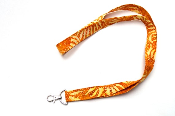 Batik Fabric Lanyard in Sunflower Pattern, Orange and Yellow Badge ID Holder, Tropical Cloth Key Chain