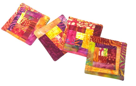 Batik Quilted Fabric Coasters in Shades of Pink, Orange, Yellow and Red, Set of Four
