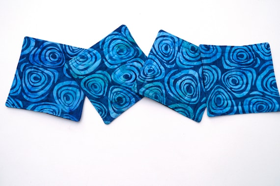 Quilted Fabric Coasters in Vibrant Blue Batik Swirl Pattern, Set of Four