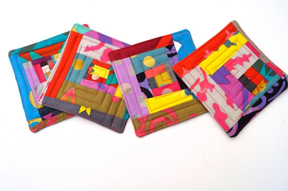 Quilted Fabric Coasters with Colorful Patchwork, Vintant Color Batik Drink Ware, Set of Four