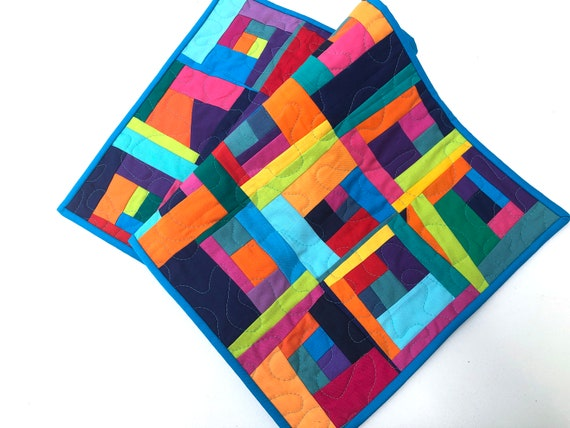 Colorful Quilted Fabric Table Runner or Wall Hanging with Log Cabin Patchwork,