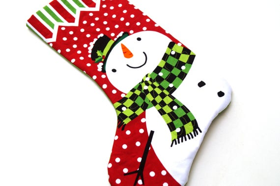 Christmas Stocking Featuring Snowman in Quilted Fabric