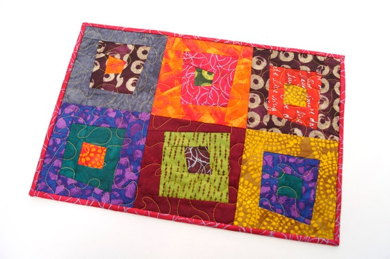 Quilted Patchwork Placemat, Wall Hanging or Table Topper in Bright and Colorful Batik Fabrics