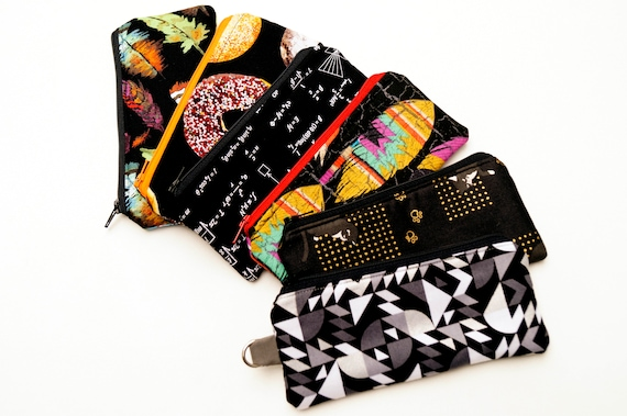 Black Fabric Padded Zipper Pouch with Choice of Pattern, Glasses Case, Cosmetic Bag