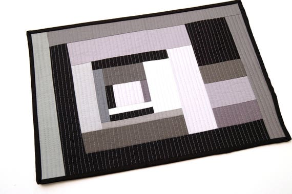 Modern Place Mat in Abstract Black, Grey and White Quilted Patchwork
