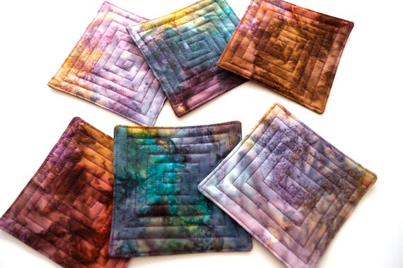 Quilted Fabric Coasters in Mottled Batik Fabrics in Shades of Purple, Blue and Brown, Set of 6