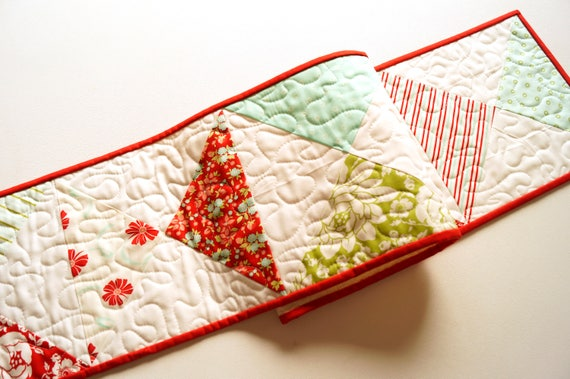 Spring Floral Patchwork Quilted Table Runner in Red, Aqua Blue and Green