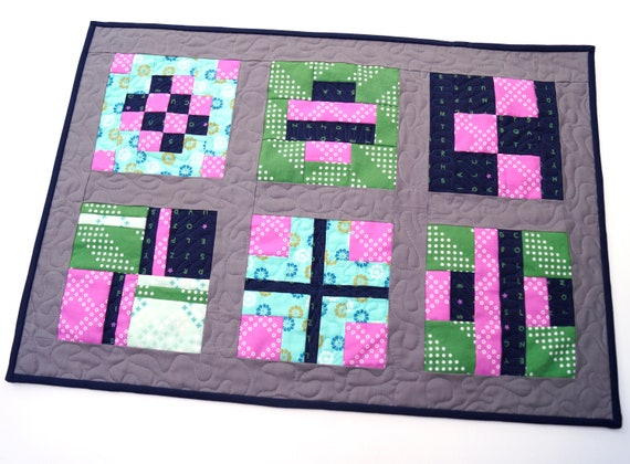 Modern Fabric Patchwork Quilted Table Topper in Pink, Green, Blue and Grey