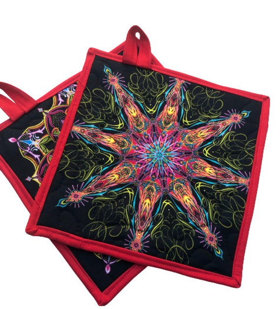 Colorful Medallion Quilted Fabric Pot Holders, Choice of One Hot Pad or Set of Two with Hanging Tab Option