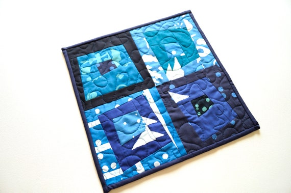 Eclectic Patchwork Mini Quilt in Shades of Blue for use as a Table Topper, Wall Hanging, Place Mat
