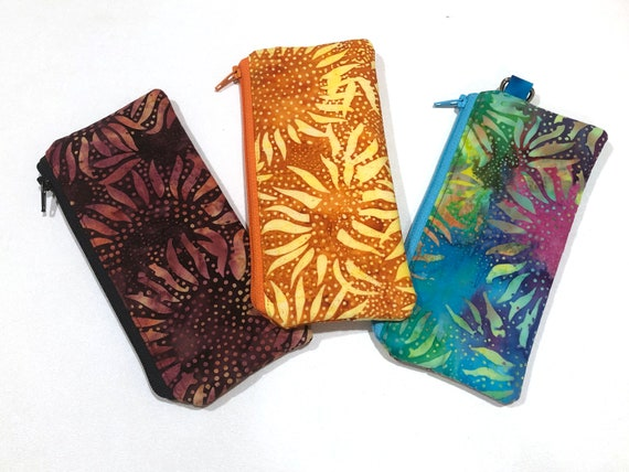 Fabric Eyeglasses Case with Sunflower Pattern, Batik Padded Cloth Cosmetic Pouch with Colorful Options