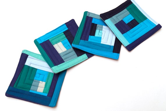 Quilted Fabric Coasters in Blue Abstract Patchwork, Modern Cloth Drink Ware, Set of Four