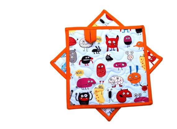 Monster Quilted Fabric Pot Holders with Choice of One or Set of Two with Hanging Tab Option