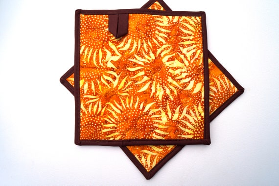 Quilted Pot Holders with Orange and Yellow Sunflower Pattern, Tropical Batik Fabric Hot Pads, Choice of One or Two