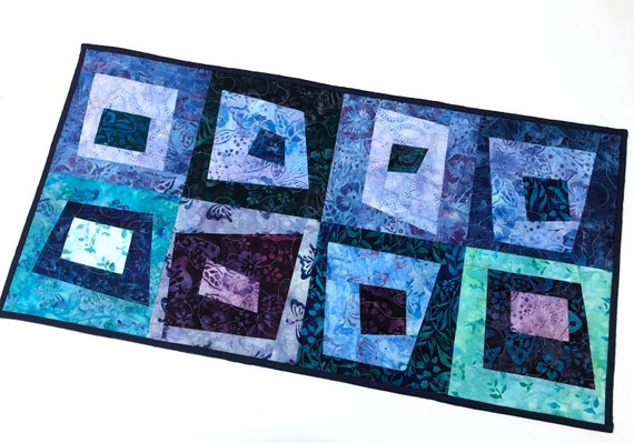 Quilted Batik Fabric Patchwork Table Runner or Wall Hanging in Shades of Blue and Purple