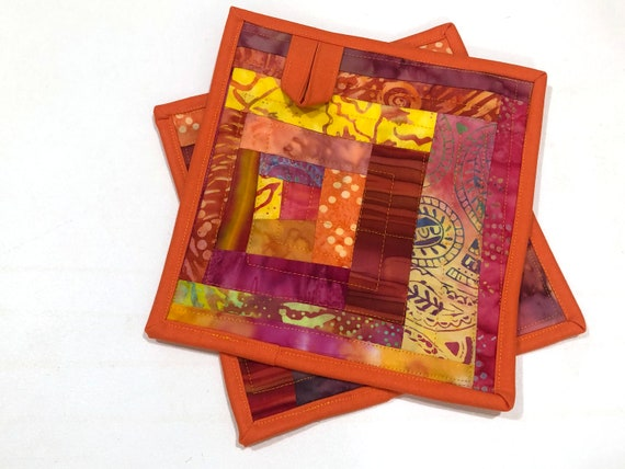 Quilted Batik Fabric Pot Holders with Colorful Patchwork, Tropical Cloth Hot Pads, Set of Two