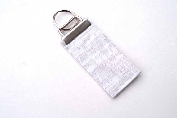 Chap Stick Holder Key Chain with Grey Music Note Pattern Fabric