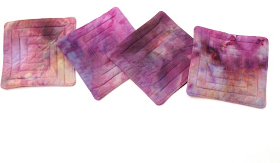 Quilted Coasters with Hand Dyed Fabrics in Shades of Pink and Purple, Set of Four