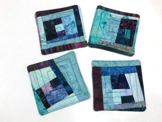 Quilted Fabric Coasters with Vibrant Patchwork, Tropical Batik Cloth Drink Ware, Set of Four