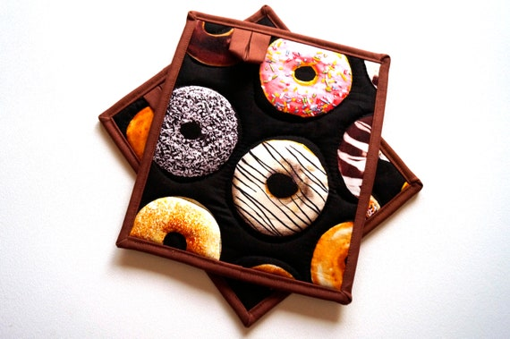 Donut Quilted Fabric Pot Holders, Choice of One or Set of Two with Hanging Tab Option