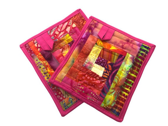 Quilted Batik Fabric Pot Holders with Colorful Patchwork, Vibrant Cloth Hot Pads, Set of Two