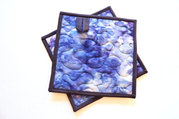 Quilted Pot Holders with Hand Dyed Blue and Purple Batik Fabric, Choice of One or Set of Two with Hanging Tab Option