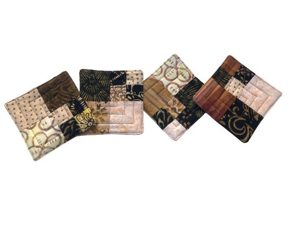 Quilted Batik Fabric Coasters with Earth Tone Patchwork, Modern Cloth Drink Ware, Set of Four