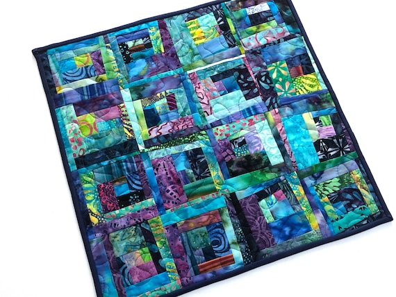 Colorful Batik Fabric Patchwork Quilt for use as a Table Topper or Wall Hanging