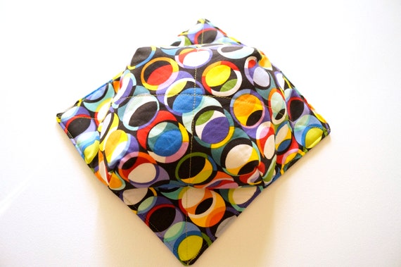Microwave Bowl Cozy with Colorful Circle Print Fabric, Soup or Ice Cream Bowl Holder