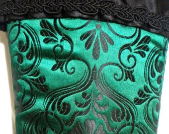 Victorian Christmas Stocking in Emerald Green and Black Brocade
