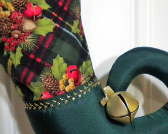 Christmas Stocking with Curly Elf Toe in Christmas Plaid