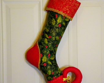 Christmas Stocking with Curly Elf Toe in Holly Print
