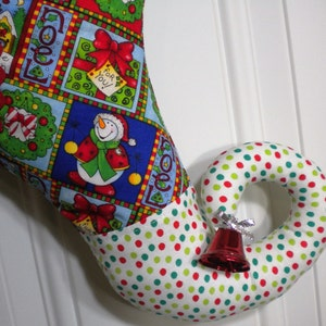 Christmas Stocking with Snowman Print and Curly Elf Toe
