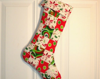Patchwork Quilted Christmas Stocking in Green, Red and White