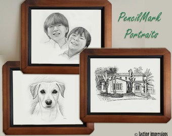 PencilMark Portraits SUMMER SALE - Hand drawn rendering of your family, pets, and home. Gifts for an Anniversary, Birthday, or any occasion.