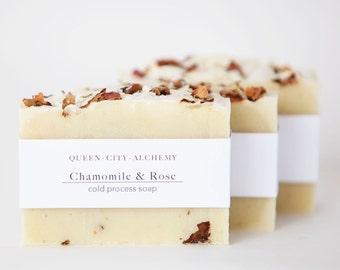 Chamomile & Rose Cold-Process Soap   Handmade All Natural Soap