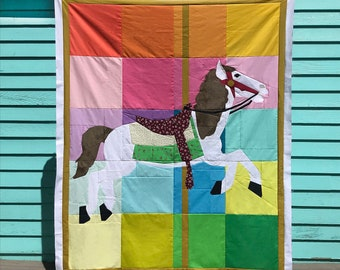Kid Giddy Carousel Horse and Unicorn Quilt Pattern #48 - PDF Pattern