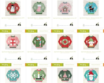 Ugly Sweater Patchwork Block Pattern MEGA Bundle all 12 designs - all 12 PDF Patterns