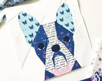 """French Bull Dog #20 Block PDF Paper Piecing Pattern 10"""" x 10"""" finished"""