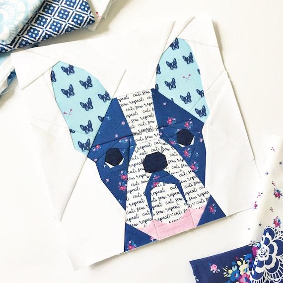 French Bull Dog 20 Block Pdf Paper Piecing Pattern 10 X Etsy