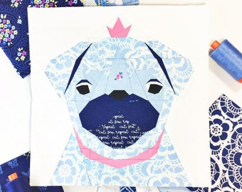 "Pug Dog #23 Block PDF Paper Piecing Pattern 10"" x 10"" finished"
