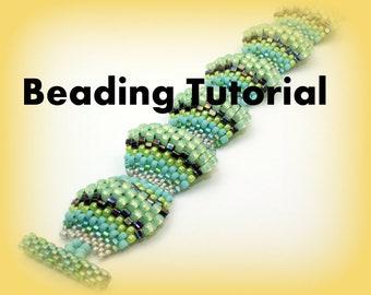 Beading Tutorial Flat Cellini Peyote stitch Bracelet Tutorial, Instant Download, peyote stitch tutorial, English ONLY