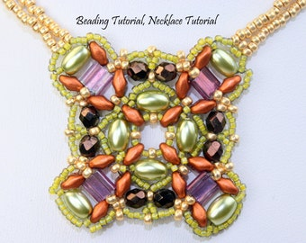 Beading Tutorial, Necklace tutorial, Bead weaving pattern for Double Up Necklace, English only Instant Download