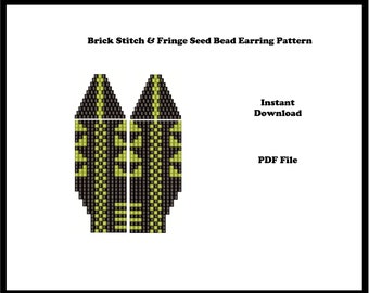 Brick Stitch & Fringe Seed bead Earring Pattern, Fun, Quick PDF Instant Download, Seed bead pattern,