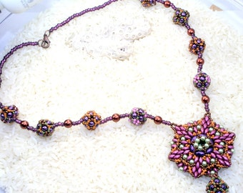 Beading Tutorial, Two sided Pendant pattern, Gretta Bead weaving tutorial beaded bead tutorial, seed bead tutorial PDF Instant Download