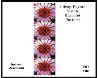 2 drop Peyote Stitch Bracelet beading Pattern, size 11, delica seed bead pattern, Flower pattern