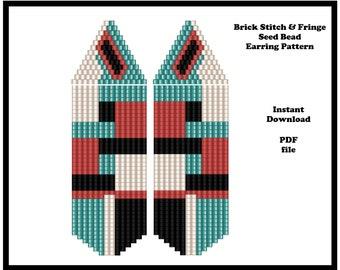 Brick Stitch & Fringe Seed bead Earring Pattern, PDF Instant Download, Seed bead pattern