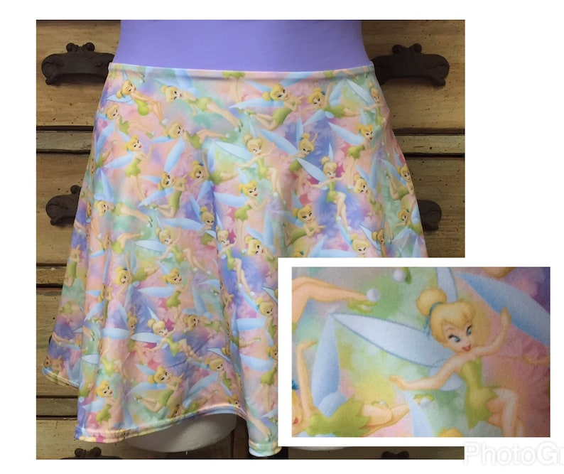 Tinkerbell slim or full circle running skirt disney spandex fabric princess  mickey minnie swim suit coverup costume tinker bell