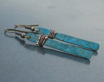 Verdigris Patina Earrings - Patina Jewelry - Patina Earrings - Copper Patina - Boho Jewelry - Copper Anniversary - Medium Length Bar Earring